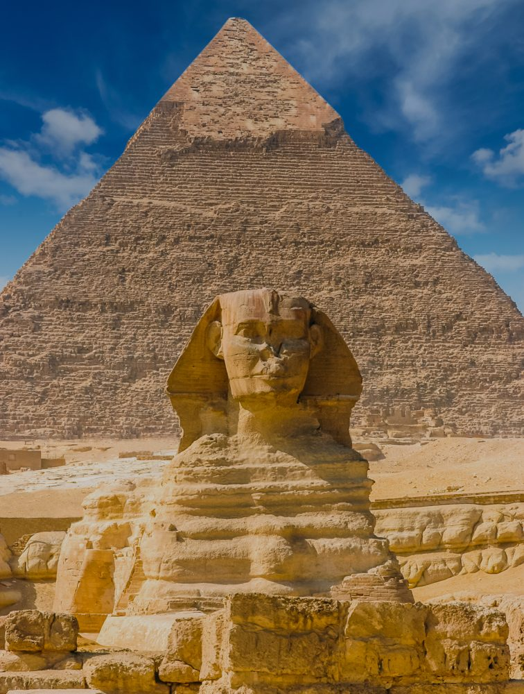 Egyptian sphinx. Cairo. Giza. Egypt. Travel background. Architec