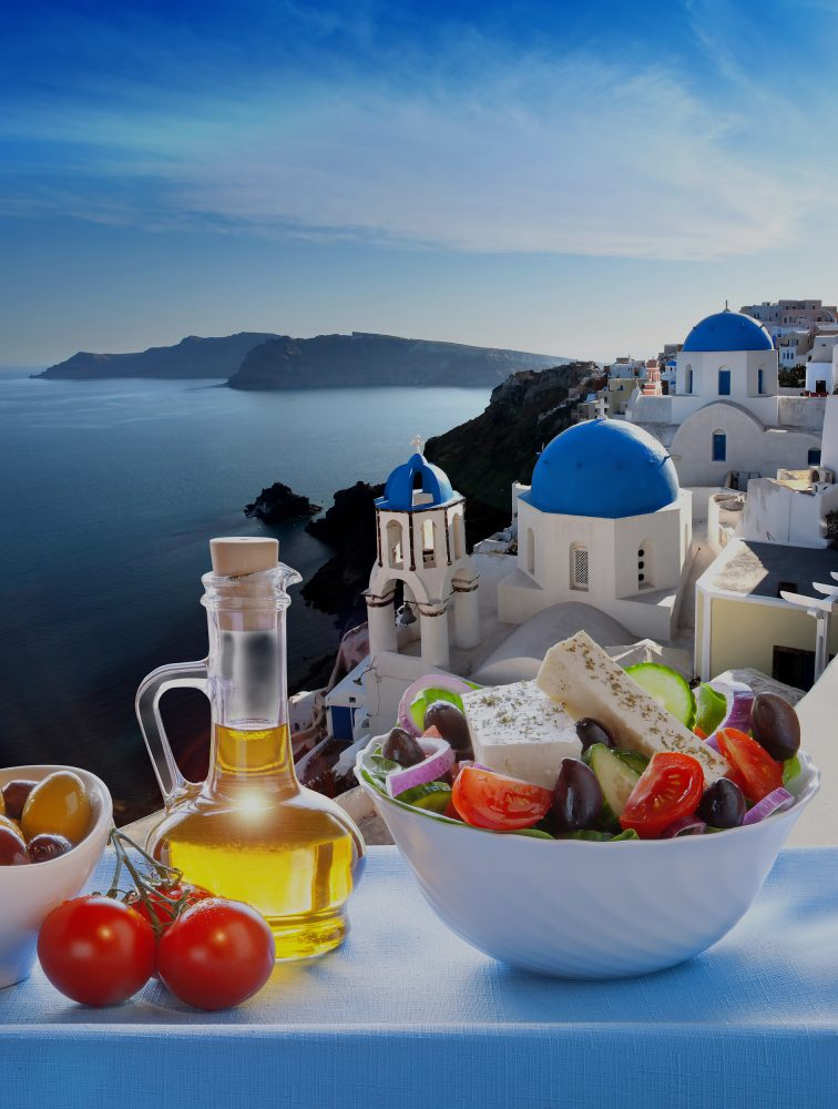 Greek salad  in Oia village, Santorini island in Greece