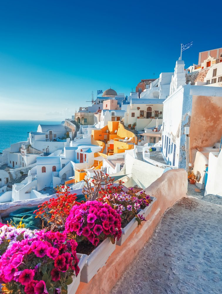 Santorini, Greece. Picturesq view of traditional cycladic Santor