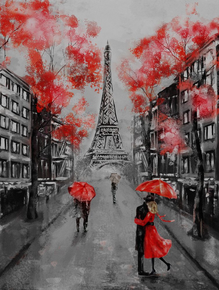 Oil Painting, Paris. european city landscape. France, Wallpaper,